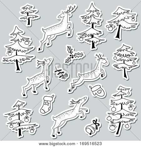 Christmad doodle stikers set with Christmas tree decorated with balls and cute jumping deers bell mitten and stoking