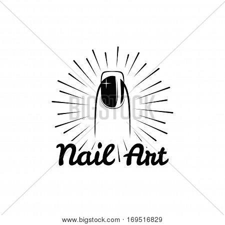 Nail art. polish salon badge. Female finger. Vector illustration isolated on white background