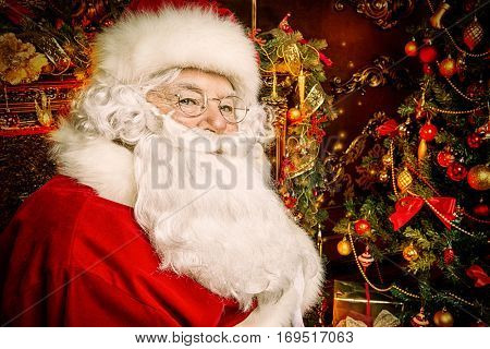 Christmas concept. Close-up portrait of a fairytale Santa Claus. Good old traditions. Family holidays.