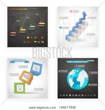 Infographics Cubes Ladder Steps Globe Flyer Set Vintage Retro Style Design Template Stylish Abstract Background Vector Illustration