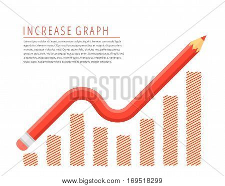 Flat infographic growth business concept. Red pencil as a increase graph arrow with growth hand drawn column chart. Infographics vector elements for web publish social networks.