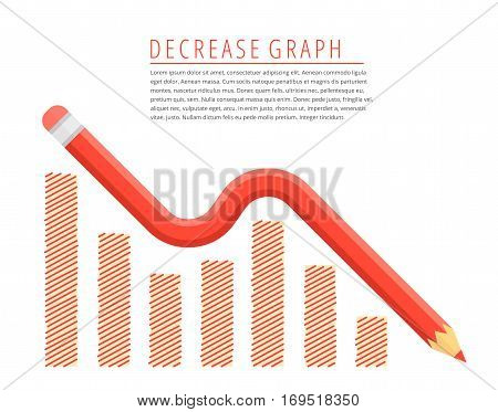 Flat infographic reduction business concept. Red pencil as a decreasing graph arrow with recession hand drawn column chart. Infographics vector elements for web publish social networks.