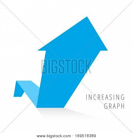 Increasing graph concept. Blue arrow depict growth business. Flat illustration of rise arrow with shadow as an element for infographic article background for internet publish social networks.