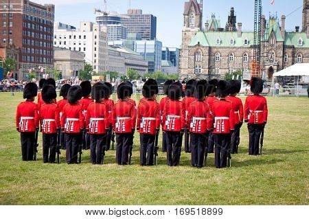Ottawa, Canada - July 3, 2011: changing of the guard in front of the Parliament of Canada on Parliament Hill in Ottawa, Canada