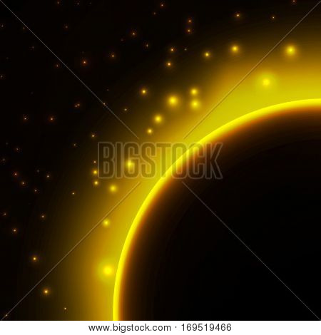 Space background with light from behind of the planet