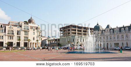 BATUMI, GEORGIA -AUGUST 14,2013 : View of Eras Moedani square in Batumi, . Batumi is the capital of the Autonomous Republic of Adjara, Republic of Georgia