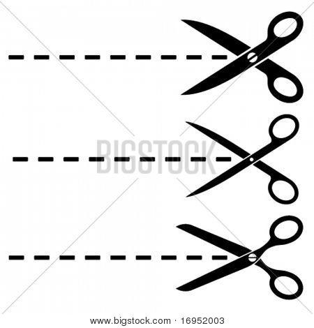 Vector scissors cut lines