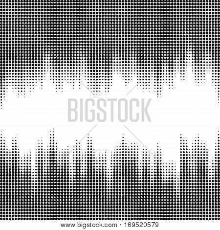 Vector illustration with halftone patterns. Black and white abstract vector background.