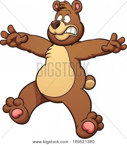 Scared cartoon bear. Vector clip art illustration with simple gradients. Head, body and snout on separate layers.