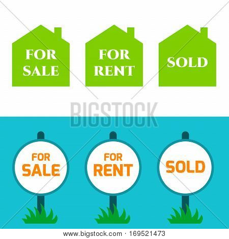Set sign, Sold, For sale, For rent. Sold Home For Sale Real Estate isolated on white and blue background.