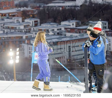 STOCKHOLM SWEDEN - JAN 31 2017: Pernilla Wiberg (SWE) former downhill celebrity inspecting the parallel slalom at the Alpine Audi FIS Ski World Cup. January 31 2017 Stockholm Sweden
