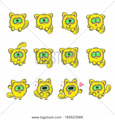 Set vector illustrations isolated character cartoon cat stickers emoticons with different emotions for site info graphic video animation websites e-mails newsletters report comic