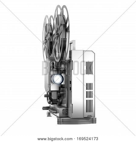 Old Cinema Projector, Vintage Movie or Video Concept. 3d Rendering Isolated on White Background