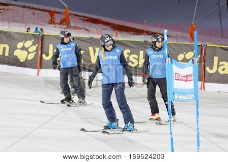 STOCKHOLM SWEDEN - JAN 31 2017: Officials inspecting the ski used for parallel slalom at the Alpine Audi FIS Ski World Cup. January 31 2017 Stockholm Sweden
