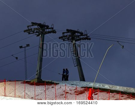 STOCKHOLM SWEDEN - JAN 31 2017: Ski lift in the ski used for parallel slalom at the Alpine Audi FIS Ski World Cup. January 31 2017 Stockholm Sweden
