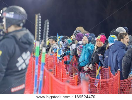 STOCKHOLM SWEDEN - JAN 31 2017: Audience waiting for the parallel slalom event at the Alpine Audi FIS Ski World Cup - city event January 31 2017 Stockholm Sweden