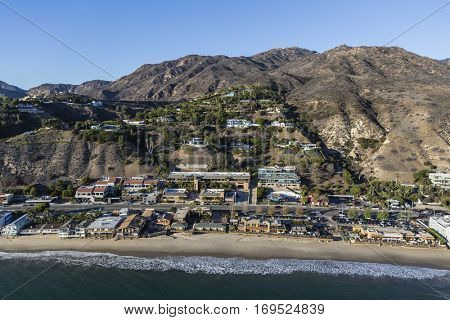 Aerial of built up Malibu beachfront near Los Angeles in Southern California.