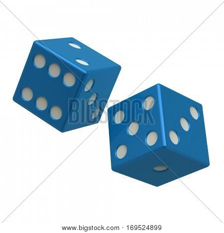 Two blue dices isolated on white. 3D illustration.