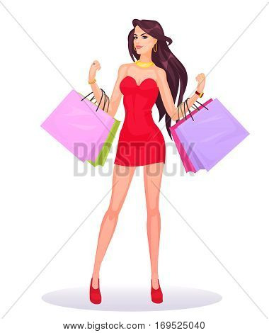 smiling girl holding in hands bags with purchases