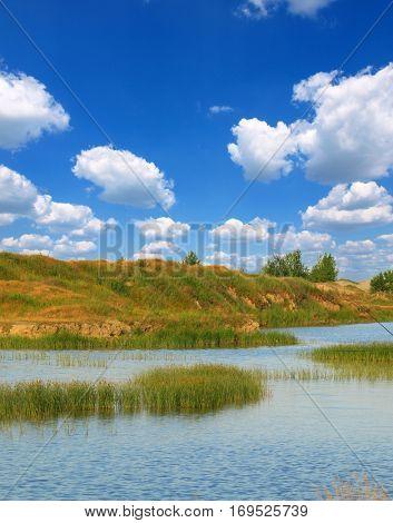 Bog landscape with bog pools in the autumn