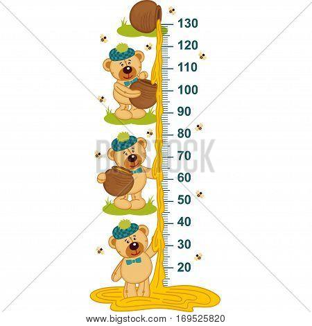 teddy bear and honey height measure - vector illustration, eps