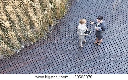 High angle view of businesswomen discussing while standing on floorboard