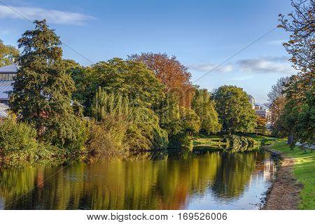 Landscape with park on Witte singel channel in Leiden Netherlands
