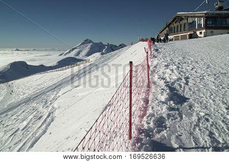 Sochi, Russia - January 23, 2017: Southern slope of Rosa Peak 2320 meters above sea level in Rosa Khutor Alpine Resort