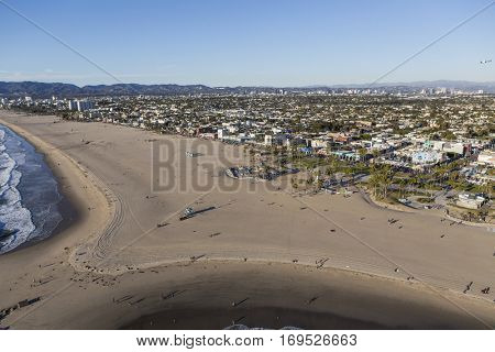 Los Angeles, California, USA - December 17, 2016:  Aerial of broad section of Venice beach in Los Angeles California.