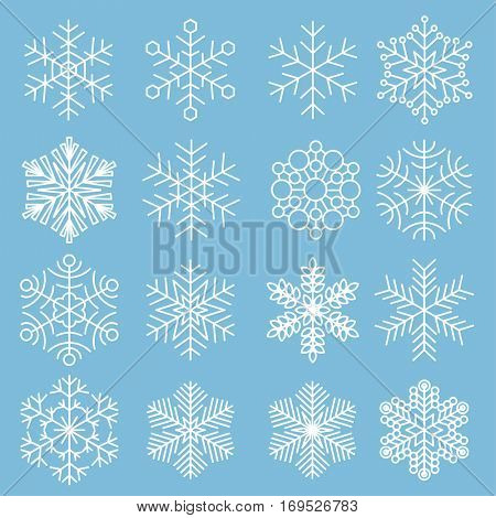Vector snowflake flat design icon element set
