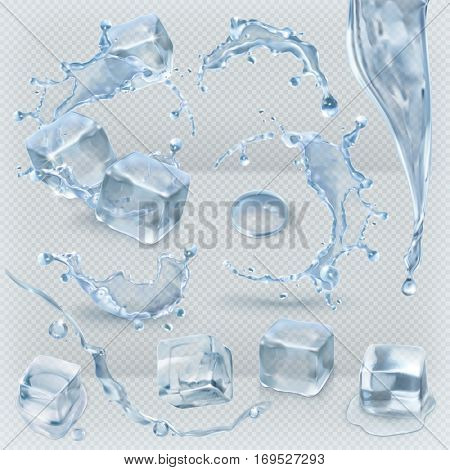Water splashing and ice cube with transparency, 3d vector set