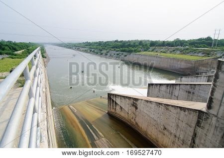 Water Flowing From Dam Gate For Power Environment Concept, Thailand