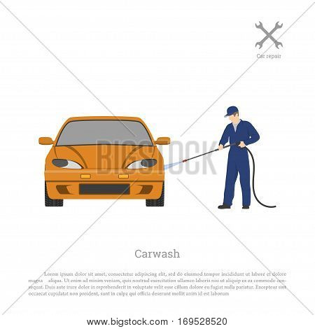 Car wash. Worker washing a automobile on a white background. Repair and maintenance . Vehicle workshop. Auto services image. Vector illustration