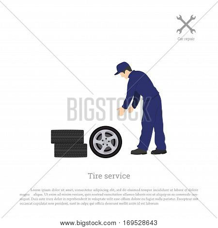 Tire service. Mechanic changing a car wheel. Repair and maintenance. Vehicle workshop. Vector illustration