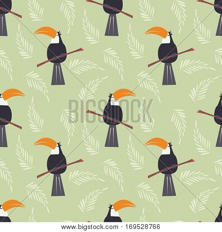 Seamless pattern with cute jungle parrot toucan on green background vector illustration