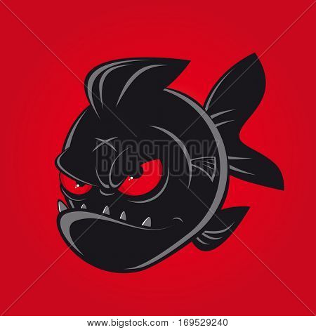 evil black comic piranha