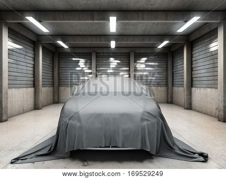 Old dirty garage with car covered with cloth. 3D illustration.
