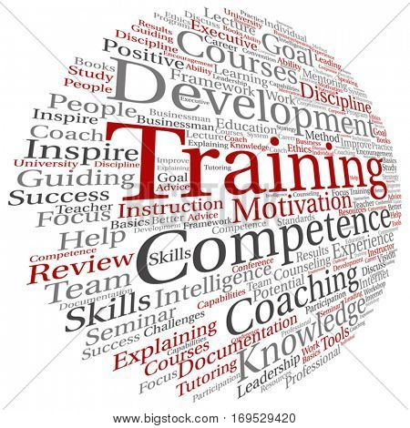 Vector concept or conceptual training, coaching or learning, study word cloud isolated on background metaphor to mentoring, development, skills, motivation, career, potential, goals or competence