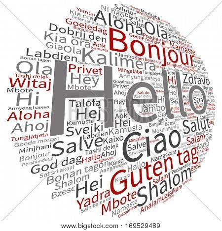Vector concept or conceptual abstract hello or greeting international word cloud in different languages or multilingual metaphor to world, foreign, worldwide, travel, translate, vacation or tourism