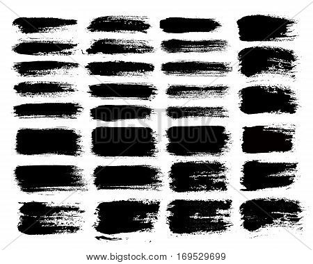 Grunge paint vector. Painted brush strokes. Texture text box set. Distress stripe backgrounds. Hand drawn banner, label, frame shapes. Black textured design elements. Grungy scratch effect.
