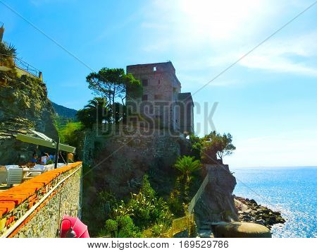 Stone fortifications of Monterosso al Mare, a small town in province of La Spezia, Liguria, Italy.