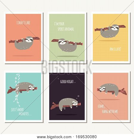 Collection of six greeting cards with cute sloth and text message vector illustration