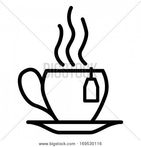Steamy Tea Cup with teabag label Thin Line Linear Icon. Vector illustration