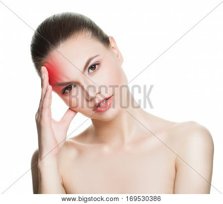 Young Woman with an Headache. Woman Puts Hands on the Head Isolated on White