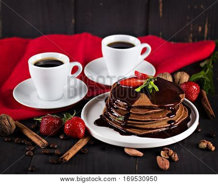 Coffee And Pancake With Strawberries