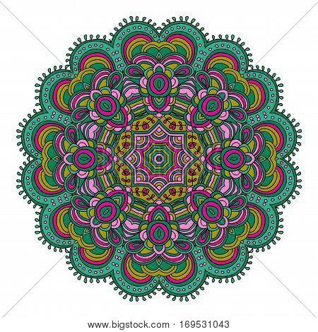 Round symmetrical pattern in green and pink colors. Mandala. Kaleidoscopic design. Sacred geometry. Zentagle. Zendala.
