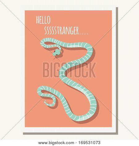 Greeting card with cute blue striped snake and text message vector illustration