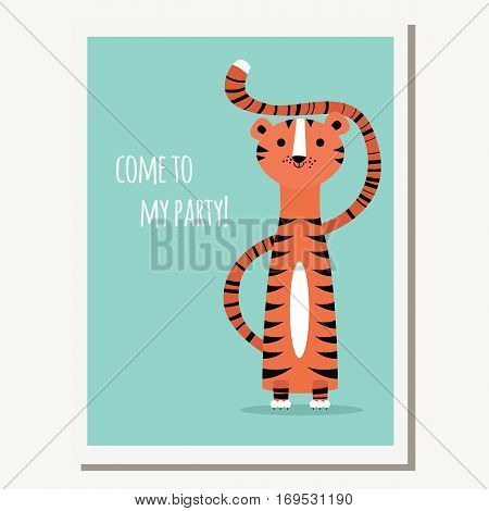Greeting card with cute tiger and text message vector illustration