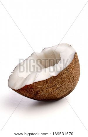 Studio shot of halved coconut
