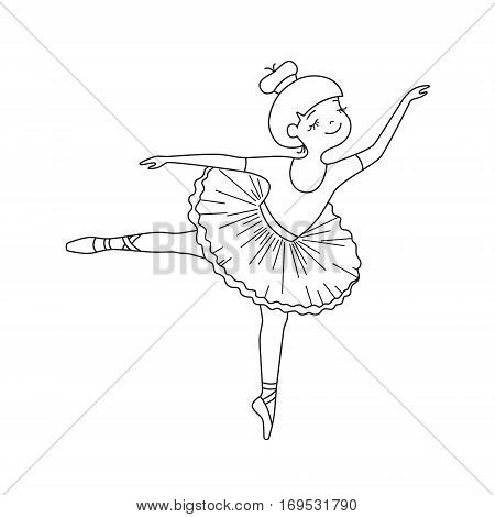 Vector black contour of nice little ballet dancer
